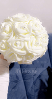 Round Satin Bridal Bouquets (Sold in a single piece) - Bridal Bouquets (123187571)
