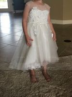 Asymmetrical Flower Girl Dress - Satin Tulle Cotton Sleeveless Bateau With Appliques V Back (269193605)