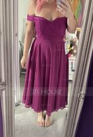 A-Line Off-the-Shoulder Tea-Length Chiffon Lace Bridesmaid Dress (007153311)
