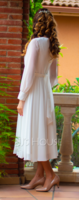 Scoop Neck Tea-Length Chiffon Cocktail Dress With Bow(s) (270236206)