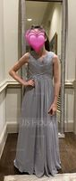V-neck Floor-Length Chiffon Junior Bridesmaid Dress With Ruffle (268235707)