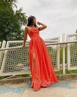 A-Line Strapless Floor-Length Satin Prom Dresses With Split Front Pockets (018224418)