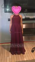 A-Line/Princess Scoop Neck Floor-Length Chiffon Junior Bridesmaid Dress (009097063)