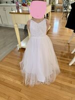Ball-Gown/Princess Floor-length Flower Girl Dress - Tulle Sleeveless V-neck With Sequins/Bow(s) (010239677)
