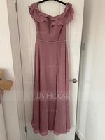 A-Line Off-the-Shoulder Floor-Length Chiffon Bridesmaid Dress With Beading Split Front Cascading Ruffles (007221194)