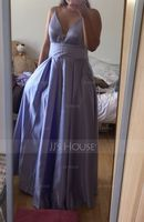 V-neck Floor-Length Satin Prom Dresses With Pockets (272206775)