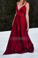A-Line V-neck Sweep Train Satin Prom Dresses With Beading Sequins Split Front (018187208)