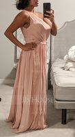 A-Line One-Shoulder Floor-Length Chiffon Bridesmaid Dress With Ruffle (007087736)