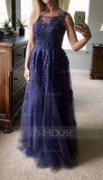 A-Line Scoop Neck Floor-Length Tulle Lace Mother of the Bride Dress With Sequins (008195374)