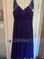 A-Line/Princess V-neck Floor-Length Chiffon Bridesmaid Dress With Ruffle Beading Sequins (266177103)