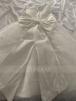 Tea-length Flower Girl Dress - Satin Tulle Sleeveless Scoop Neck With Bow(s) (269210237)