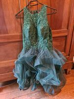 Ball-Gown/Princess Scoop Neck Short/Mini Tulle Homecoming Dress With Sequins (300244420)
