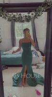 Trumpet/Mermaid Square Neckline Sweep Train Jersey Prom Dresses With Split Front (018221167)