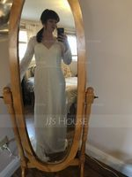 Trumpet/Mermaid V-neck Court Train Lace Wedding Dress (265218251)