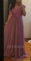 A-Line Off-the-Shoulder Floor-Length Chiffon Lace Bridesmaid Dress With Ruffle (266262298)