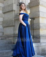 A-Line Off-the-Shoulder Sweep Train Satin Prom Dresses With Pockets (018221186)