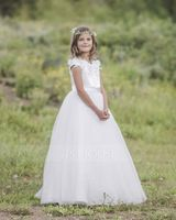 Floor-length Flower Girl Dress - Satin Tulle Sleeveless Scoop Neck With Beading Appliques (269193607)