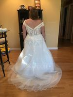 Ball-Gown/Princess Off-the-Shoulder Court Train Tulle Lace Wedding Dress (002215662)