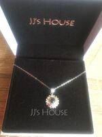 Custom Sterling Silver Circle Projection Photo Necklace With Four Little Heart - Mother's Day Gifts (288234230)