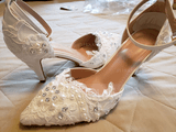 Women's Leatherette Low Heel Closed Toe Pumps With Applique Crystal (047217357)