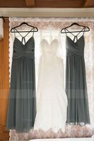 V-neck Floor-Length Chiffon Bridesmaid Dress With Ruffle (266209874)