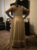 One-Shoulder Floor-Length Chiffon Charmeuse Bridesmaid Dress With Ruffle Split Front (266203977)