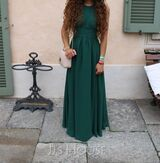 A-Line Scoop Neck Floor-Length Chiffon Prom Dresses With Ruffle (018116378)