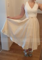 A-Line V-neck Tea-Length Satin Wedding Dress With Beading Sequins (002127244)