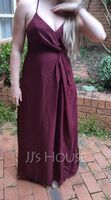 A-Line V-neck Floor-Length Chiffon Bridesmaid Dress With Ruffle Split Front (007206468)
