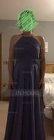 A-Line/Princess Scoop Neck Floor-Length Chiffon Bridesmaid Dress With Ruffle (007105573)