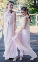A-Line Scoop Neck Floor-Length Chiffon Lace Junior Bridesmaid Dress With Ruffle (009173272)