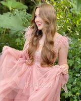 Ball-Gown/Princess V-neck Floor-Length Tulle Prom Dresses With Feather Sequins (018224410)
