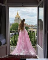 Ball-Gown/Princess Off-the-Shoulder Sweep Train Tulle Prom Dresses With Beading Sequins (018224405)