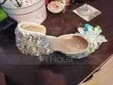 Women's Leatherette Spool Heel Closed Toe Pumps Sandals With Crystal (047170316)