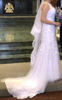 Trumpet/Mermaid Illusion Court Train Tulle Lace Wedding Dress (002134551)