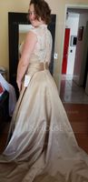 V-neck Court Train Satin Lace Wedding Dress With Ruffle (265237216)