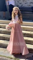 Scoop Neck Floor-Length Chiffon Lace Junior Bridesmaid Dress With Bow(s) (268232936)