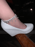 Women's Leatherette Wedge Heel Closed Toe Platform Pumps Wedges MaryJane With Buckle Imitation Pearl Rhinestone Chain (047144250)