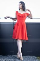 A-Line V-neck Knee-Length Chiffon Homecoming Dress With Cascading Ruffles (300243994)