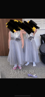 A-Line/Princess Tea-length Flower Girl Dress - Tulle/Sequined Sleeveless Scoop Neck With Flower(s) (010091203)