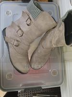 Women's Suede Flat Heel Boots With Buckle shoes (088211156)