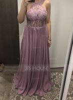 Scoop Neck Sweep Train Chiffon Lace Bridesmaid Dress With Sequins (266211349)