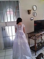 Ball-Gown/Princess Sweep Train Flower Girl Dress - Satin/Lace Short Sleeves Scoop Neck With Beading/Sequins/Bow(s) (010195358)