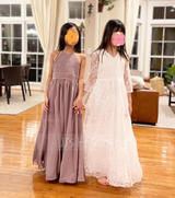 A-Line Floor-length Flower Girl Dress - Chiffon/Lace Long Sleeves V-neck/Scoop Neck (010136592)