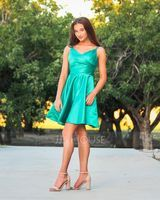 A-Line V-neck Short/Mini Satin Homecoming Dress With Ruffle Pockets (022206526)