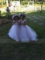 A-Line Sweep Train Flower Girl Dress - Tulle Sleeveless Scoop Neck With Flower(s) (010153234)