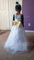 Ball Gown Floor-length Flower Girl Dress - Satin/Tulle Sleeveless Scoop Neck With Sash/Appliques/Bow(s) (Undetachable sash) (010106129)