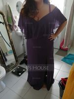 Sheath/Column Off-the-Shoulder Floor-Length Chiffon Bridesmaid Dress With Split Front (007233673)