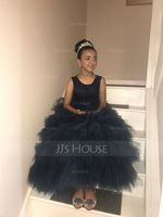 Ball Gown Ankle-length Flower Girl Dress - Tulle/Lace Sleeveless Straps (010091422)