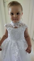 A-Line Knee-length Flower Girl Dress - Tulle/Lace Sleeveless High Neck With Beading/Sequins/Back Hole (010254271)